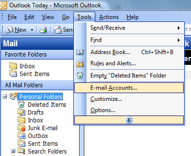 Outlook mail set up image 1