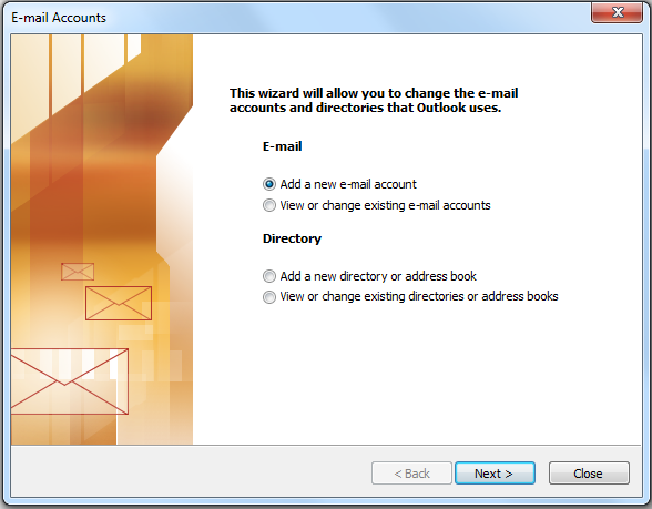 Outlook mail set up image 2